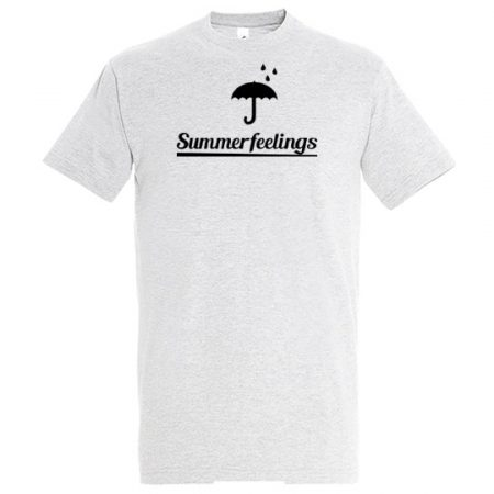 T-Shirt summerfeelings heather grey mit schwarzem Aufdruck
